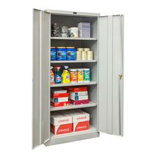 800 Series Antimicrobial One Wide Single Tier Double Door Storage Cabinet - Unassembled - Platinum - 36