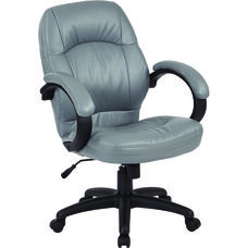 Work Smart Deluxe Faux Leather Managers Chair with Padded Arms - Charcoal Grey