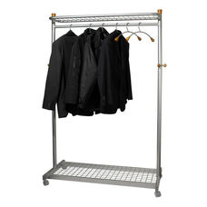 ALBA'S Metal Reception Mobile Garment Rack with Base and Top Shelves - Chrome