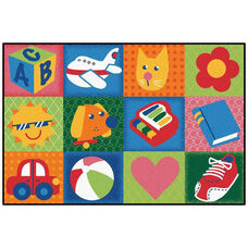 Kids Value Toddler Fun Squares Rectangular Nylon Rug - 48