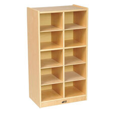 Birch 10 Cubby Tray Cabinet with 10 Sand Colored Bins - 19.5