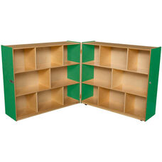 Wooden 16 Compartment Double Folding Mobile Storage Unit - Green Apple - 96