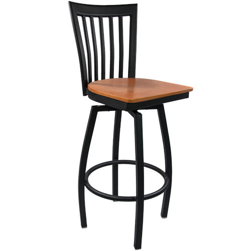 Advantage Vertical Slat Back Metal Swivel Bar Stool - Cherry Wood Seat