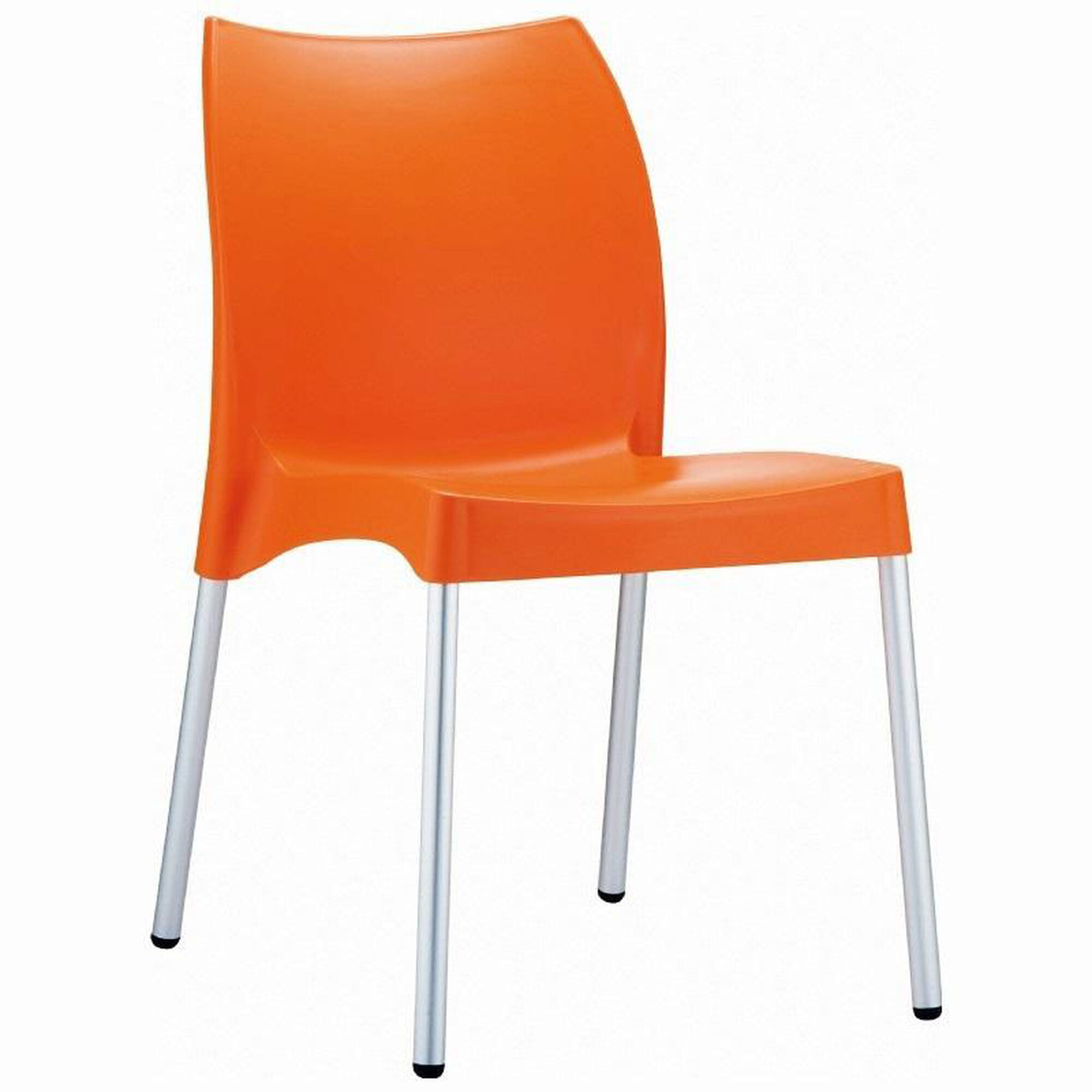 Fine Vita Outdoor Resin Stackable Dining Chair With Aluminum Legs Orange Ncnpc Chair Design For Home Ncnpcorg