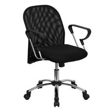 Mid-Back Black Mesh Swivel Task Chair with Extended Back and Stylish Arms