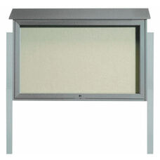 Light Gray Top Hinged Single Door Plastic Lumber Message Center with Vinyl Surface and Post