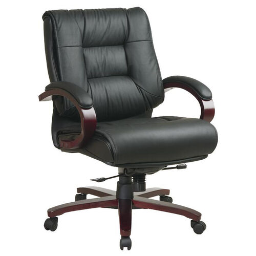 Our Pro-Line II Mid-Back Executive Leather Chair with Mahogany Base and Padded Arms - Black is on sale now.