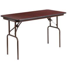 4-Foot Mahogany Melamine Laminate Folding Banquet Table