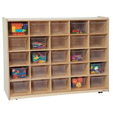 Tip-Me-Not 25 Tray Storage Unit with Mobility Casters and Twenty Five Clear Storage Trays - Assembled - 48