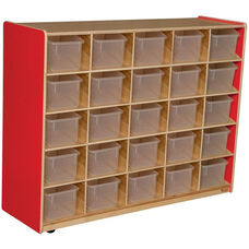 Wooden Storage Unit with 25 Clear Plastic Trays - Strawberry - 48