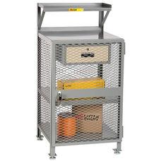 4 Shelf Enclosed Steel Shop Desk with 1 Locking Drawer - 22