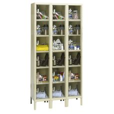Safety Clear View Plus Box Three-Wide Six-Tier Locker Unassembled - Parchment Finish - 36