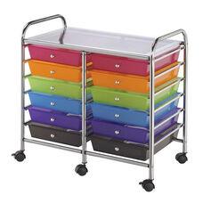 12 Drawer Chrome Frame Storage Cart - Multicolor