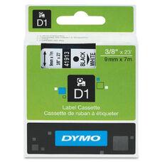 Dymo Black on White D1 Label Tape - 23 ft Length - Polyester - White