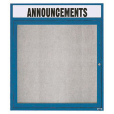 1 Door Outdoor Illuminated Enclosed Bulletin Board with Header and Blue Powder Coated Aluminum Frame - 36