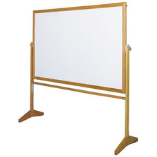 Premiere Series Reversible Mobile MLC Markerboard with Wood Frame - 48