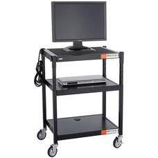 Height Adjustable Steel Audio Visual Cart - Black