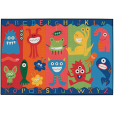 Kids Value Alphabet Monsters Rectangular Nylon Rug - 48