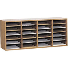 Adjustable Wooden Literature Organizer with Twenty-Four Compartment - Medium Oak