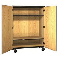 Denali 1000 Series Mobile Wardrobe Storage with Doors, 13 Double Hooks, and 1 Adjustable Shelf