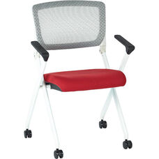 Space Pulsar Folding Chair with Breathable Mesh Back and Fabric Seat - Set of 2 - Rouge