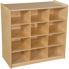 Wooden Cubby Storage Unit with 12 Orange Plastic Trays - 30