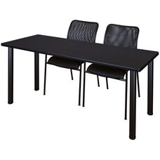 Kee 60''W x 24''D Laminate Training Table with 2 Mario Stack Chairs - Walnut Table Finish with Black Legs and Black Chairs