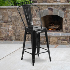 """Commercial Grade 24"""" High Black Metal Indoor-Outdoor Counter Height Stool with Removable Back"""