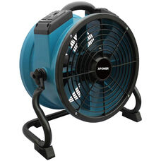 X-34AR Variable Speed Sealed Motor Industrial Axial Fan with Built-in Power Outlets and 1/4 HP - Blue