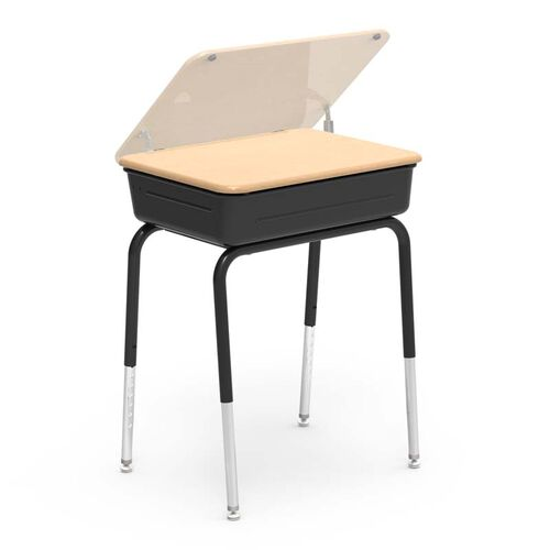 Our 751 Series Student Desk with Hard Plastic Fusion Maple Lift Lid Top and Black Legs and Metal Bookbox - 18