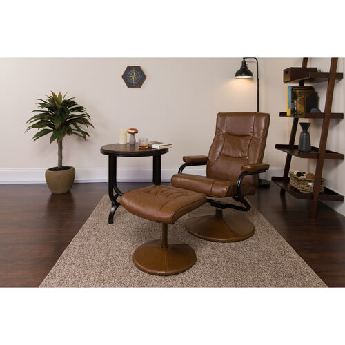 Our Contemporary Multi-Position Recliner and Ottoman with Wrapped Base in Palimino LeatherSoft is on sale now.