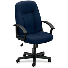 Basyx Mid-Back Managerial Chair with Fixed Loop Arms - Navy Fabric