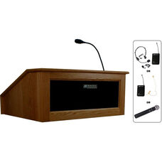 Solid Hardwood Victoria Wireless 150 Watt Sound and Hand Held Mic Tabletop Lectern - Walnut Finish - 27