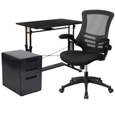 Work From Home Kit - Adjustable Computer Desk, Ergonomic Mesh Office Chair and Locking Mobile Filing Cabinet with Inset Handles