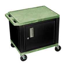 Green Tuffy Plastic Cart with Cabinet and Black Legs