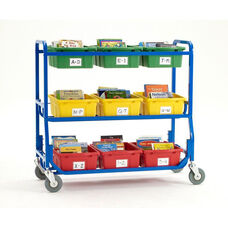 Library On Wheels™ with 9 Large Open Storage Tubs