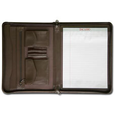 Leather Enhanced Zip Around Leather Portfolio - Chocolate Brown