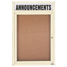1 Door Indoor Enclosed Bulletin Board with Header and Ivory Powder Coated Aluminum Frame - 48