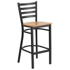 HERCULES Series Black Ladder Back Metal Restaurant Barstool - Natural Wood Seat