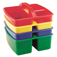 4 Pack of Assorted Colors Small Art Caddy with Three Compartments - 9.25