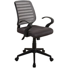 Techni Mobili Comfy Rolling Mesh Task Chair with Arms and Wheels -Grey