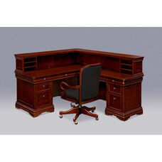 Rue De Lyon Right Reception Desk with File/File Return - Ruby Cabernet