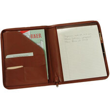 Zip Around Writing Padfolio - Top Grain Nappa Leather - Tan