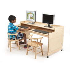 Kids Height Adjustable Computer Desk in Birch Plywood - 49