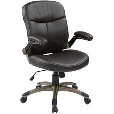Work Smart Executive Mid Back Eco Leather Chair with Adjustable Padded Flip Arms and Cocoa Finish Base - Espresso