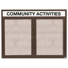 2 Door Outdoor Illuminated Enclosed Bulletin Board with Header and Bronze Anodized Aluminum Frame - 48