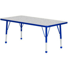 Adjustable Standard Height Laminate Top Rectangular Activity Table - Nebula Top with Blue Edge and Legs - 60