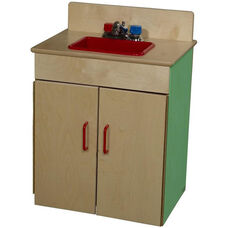 Green Apple Pretend Play Healthy Kids Plywood Classic Sink - Assembled - 20