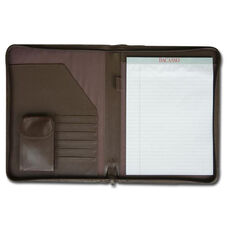 Deluxe Letter Size Zip Around Leather Portfolio - Chocolate Brown