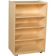 Wooden Mobile Four Shelf Adjustable Storage Unit - 24